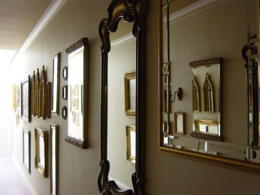 Mirrors along the hall create a magnificent effect.