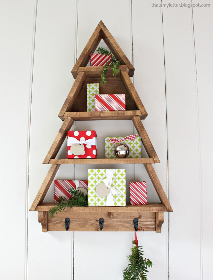 Don't have space for a tree? Then make this Christmas shelf!