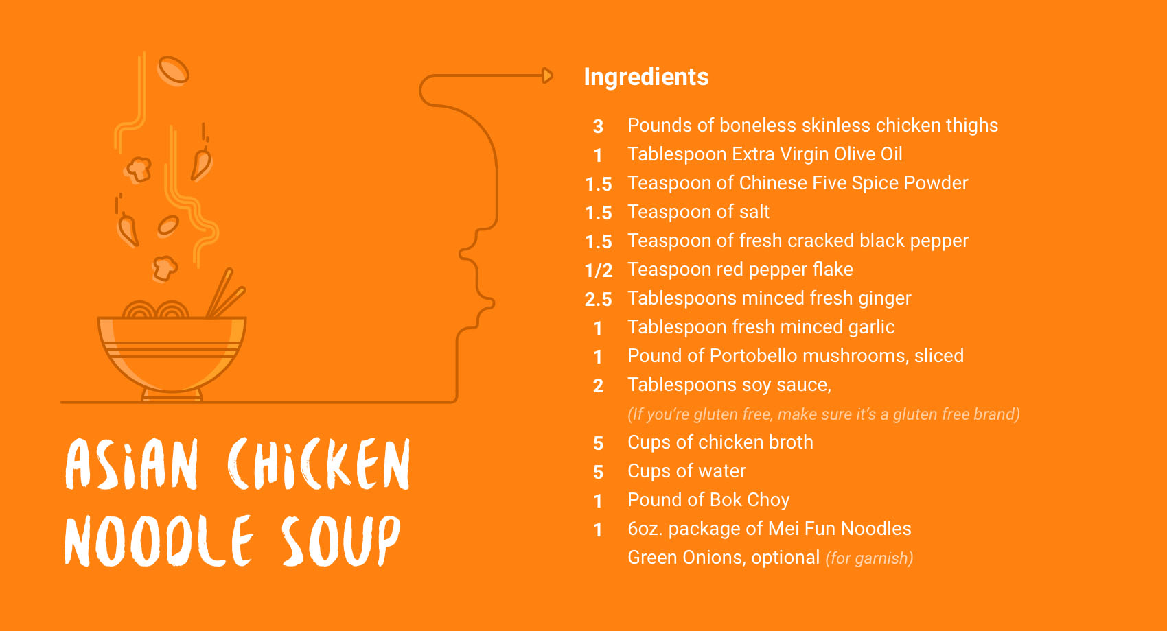 Download this free printable for the ingredients for Asian Chicken Noodle Soup!