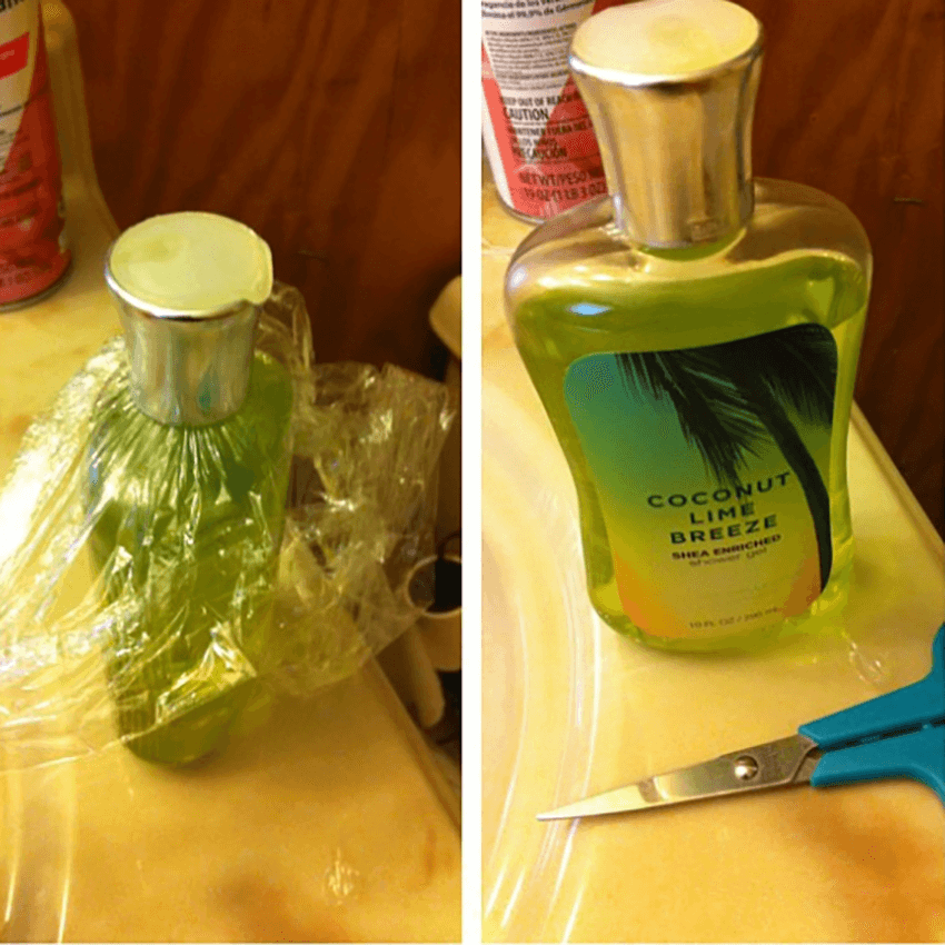 Put plastic wrap on your loved one's shampoo, conditioner or body wash.