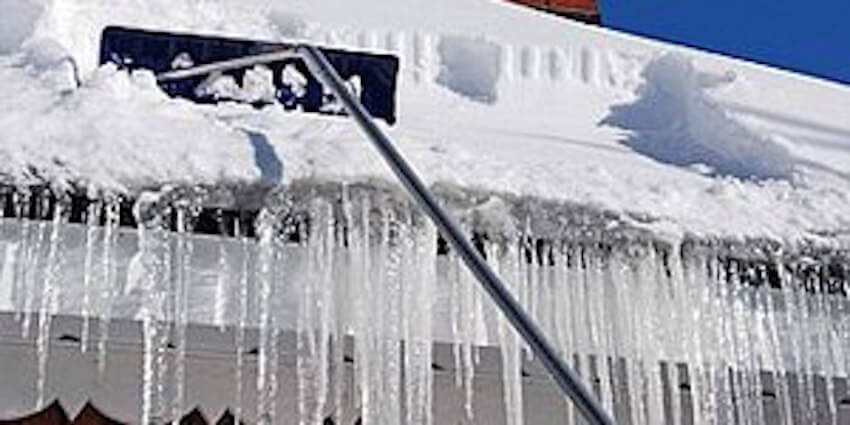 A roof rake can help clear those gutters