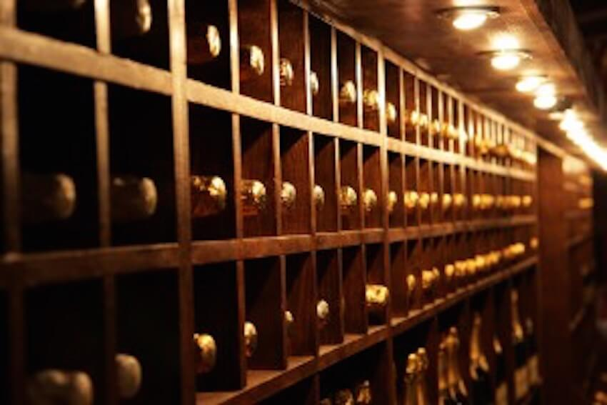 Rows of wine and champagne in your home
