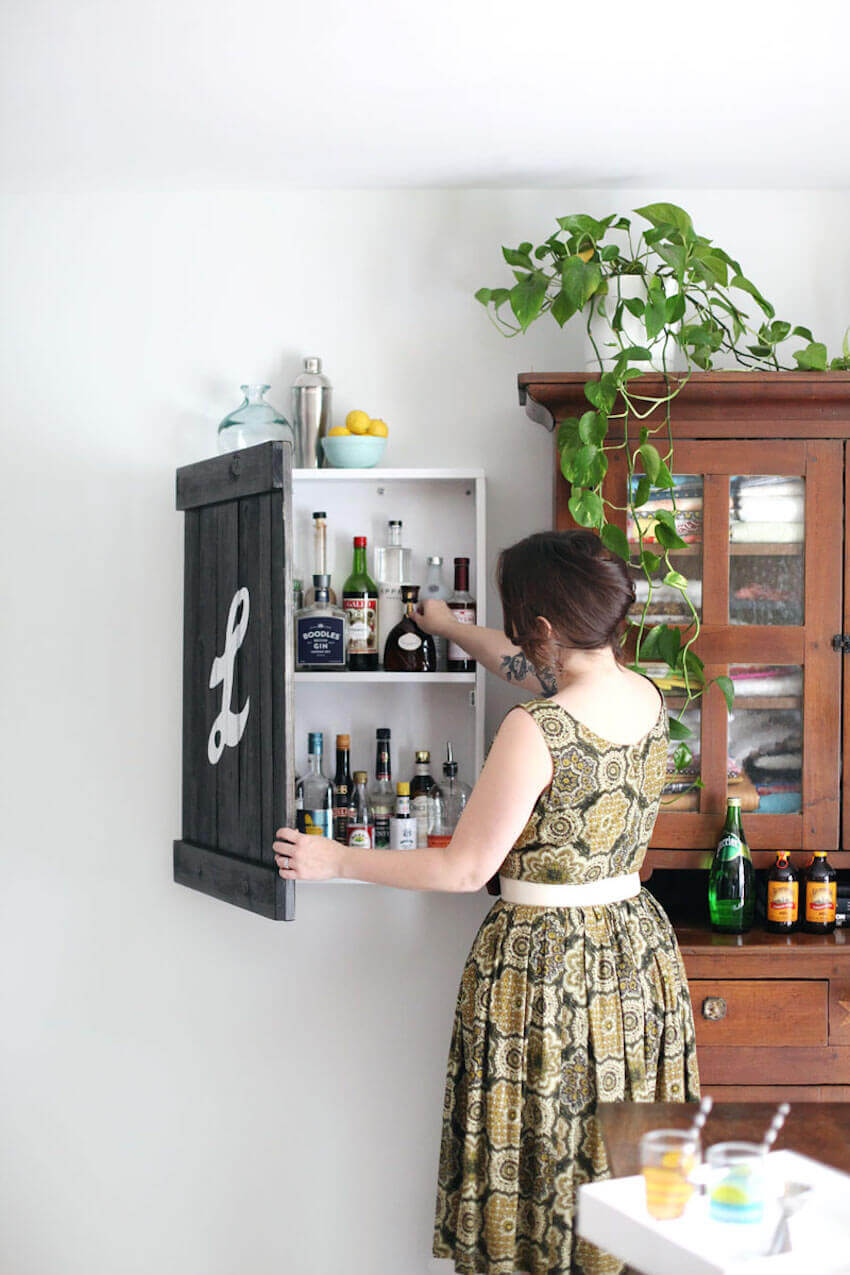 Cabinets on any interior wall hold a special something
