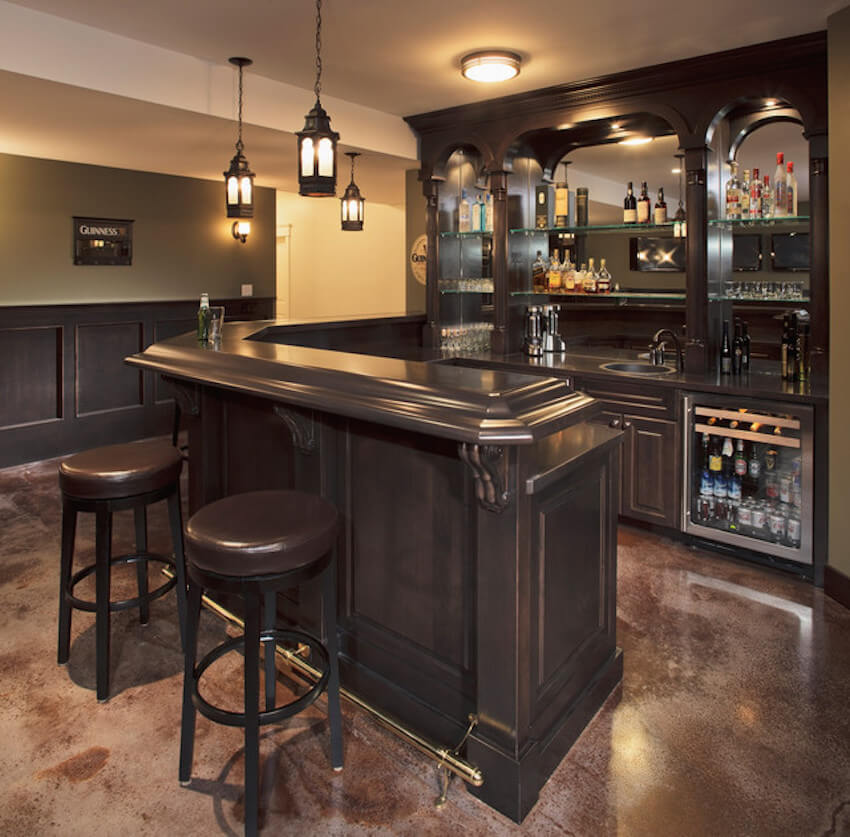 Traditional, ornate look in a home bar