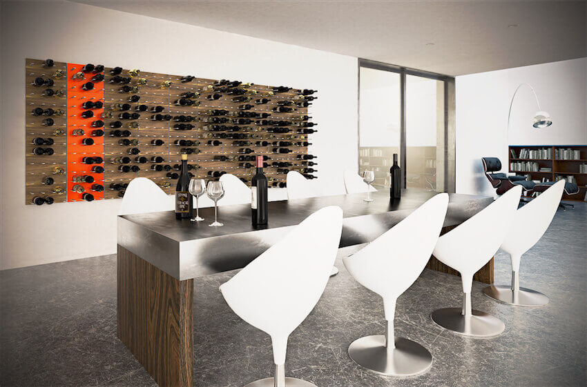 Custom modernized wine cellar with wooden wall rack