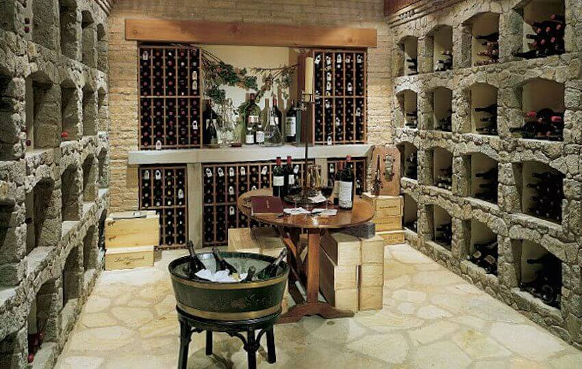 Cellar basement wine rack display that is actually made of wood