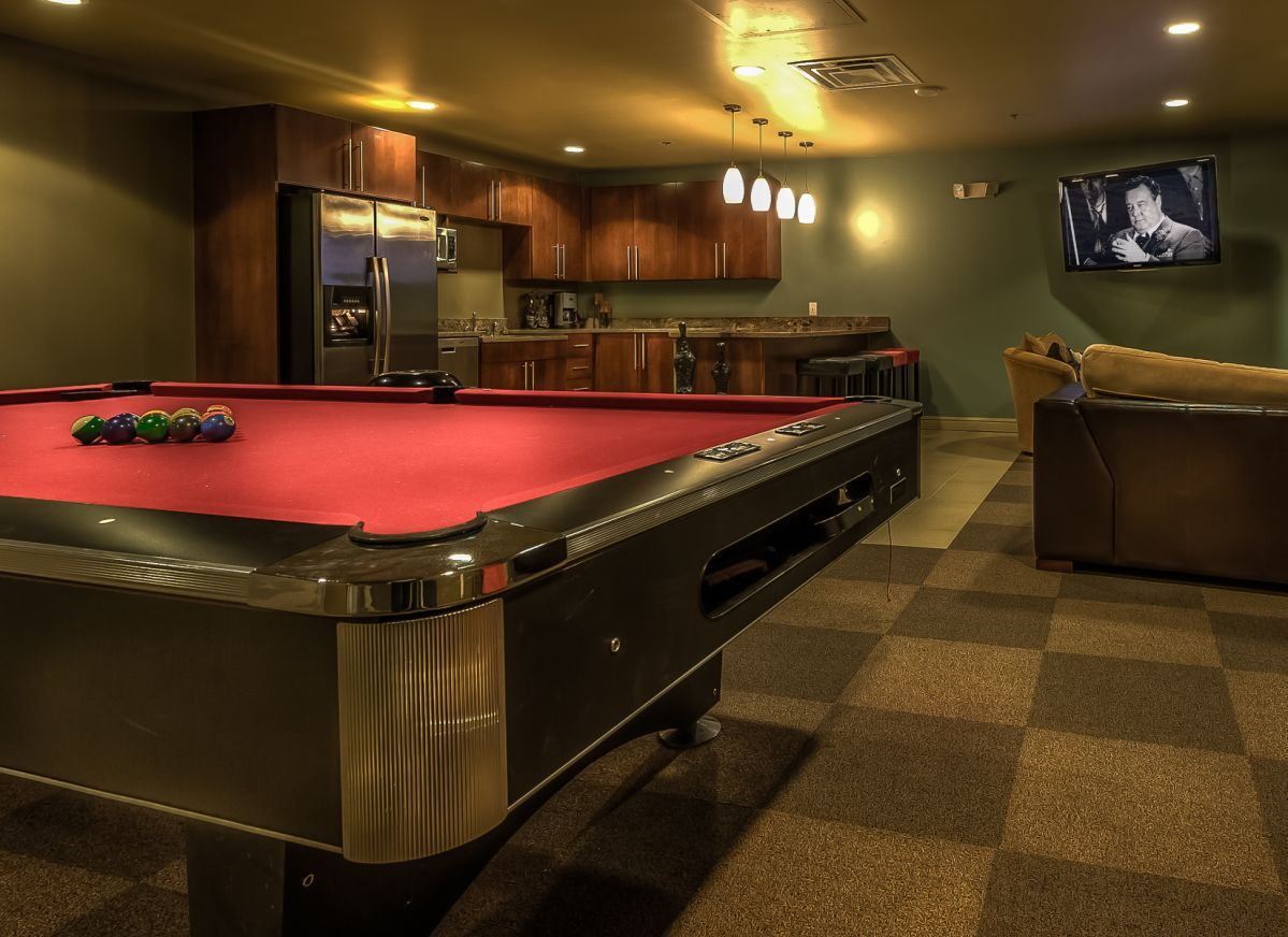 A Billiard's table in the basement