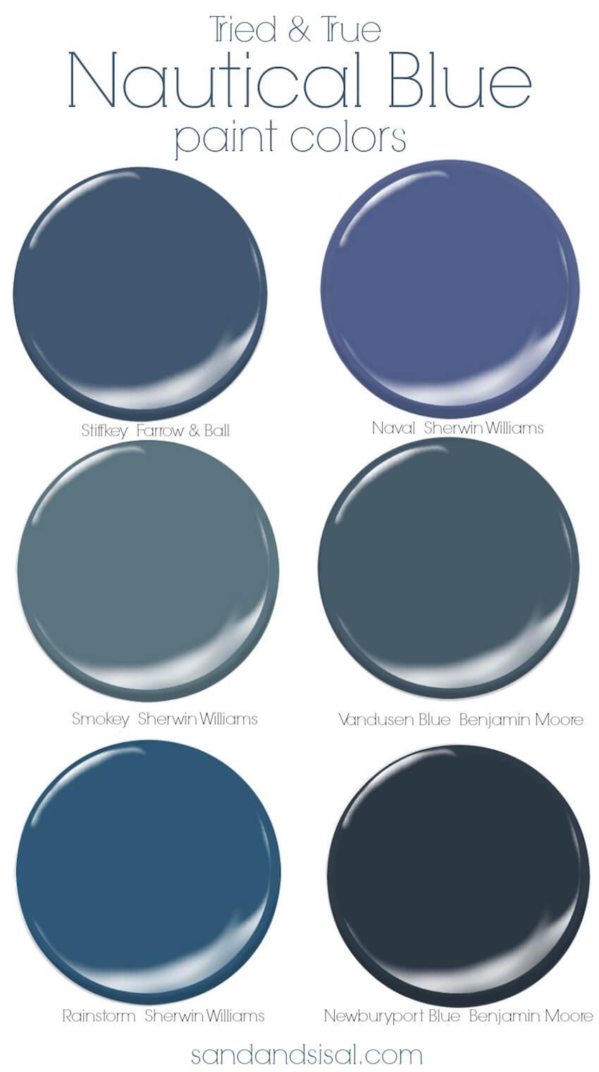 Interior home nautical paint color palette