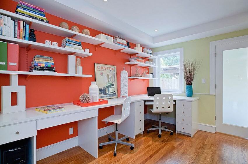 Orange interior painting for walls in an office