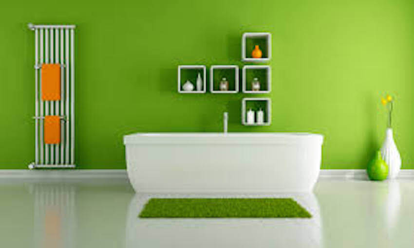 Interior painting for a green bathroom
