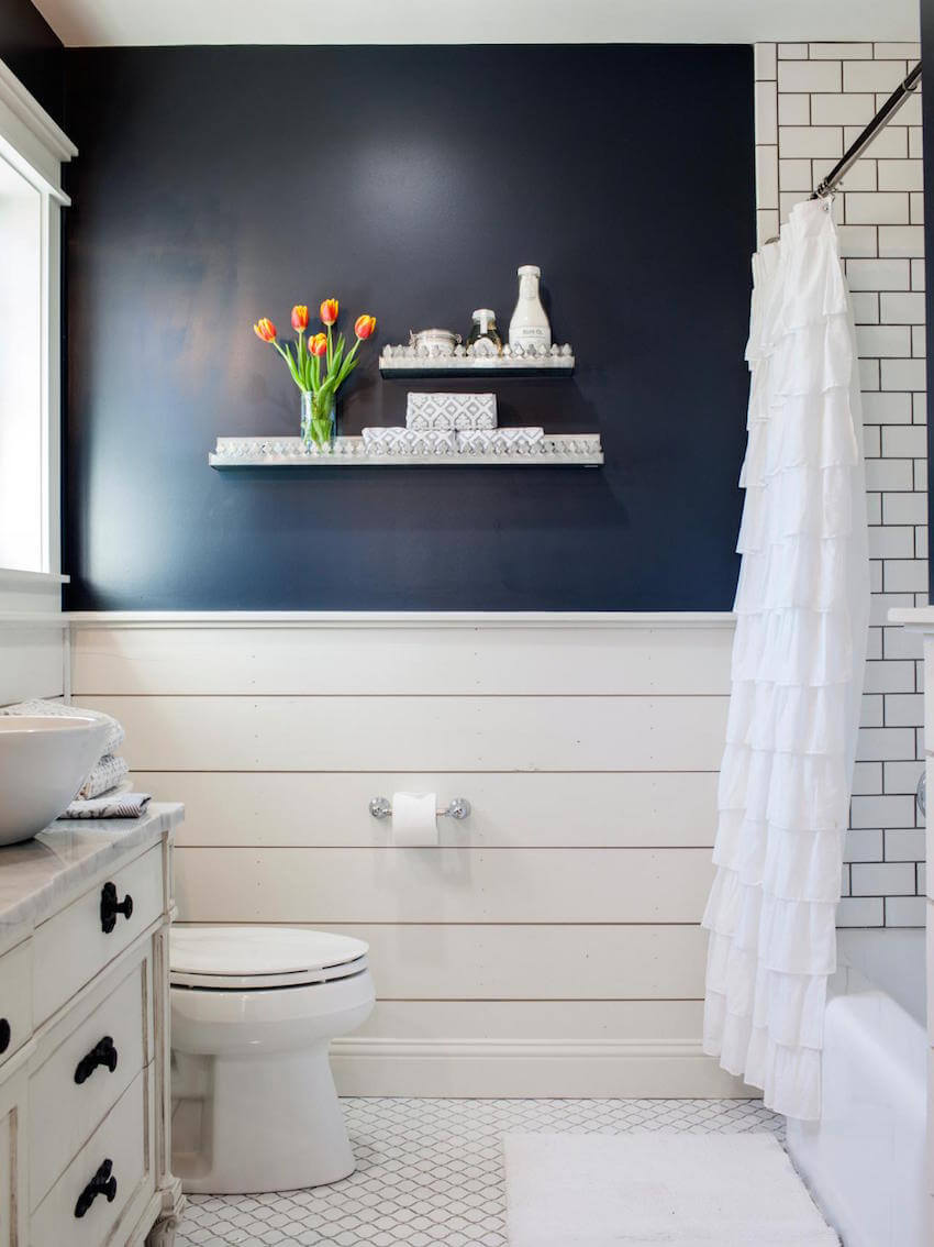 Bathroom interiors with shiplap accents