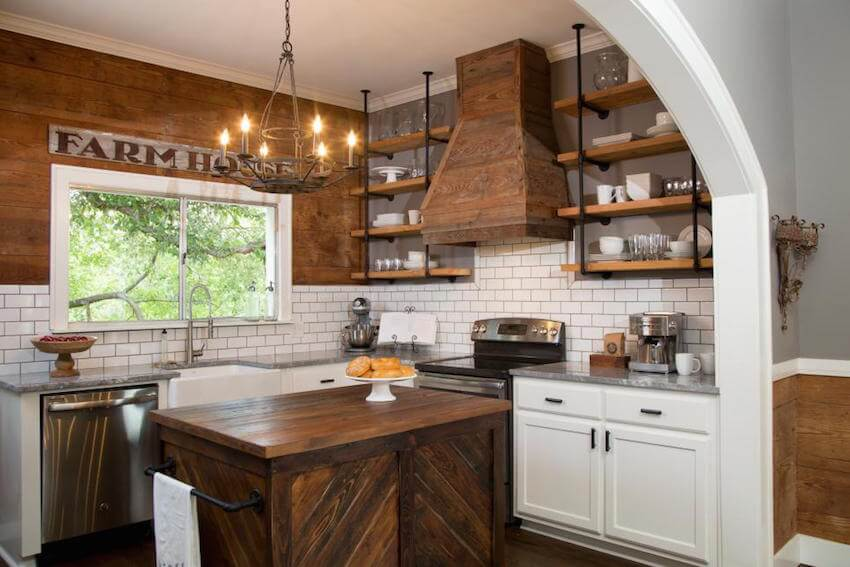 Wooden butcher block countertops with shiplap