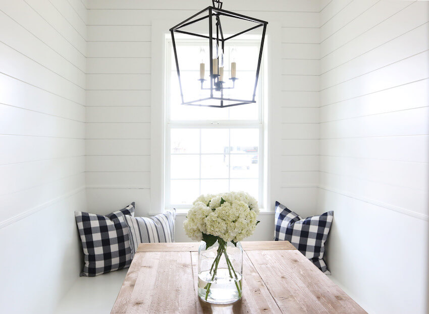 Beautiful shiplap walls for a dining room