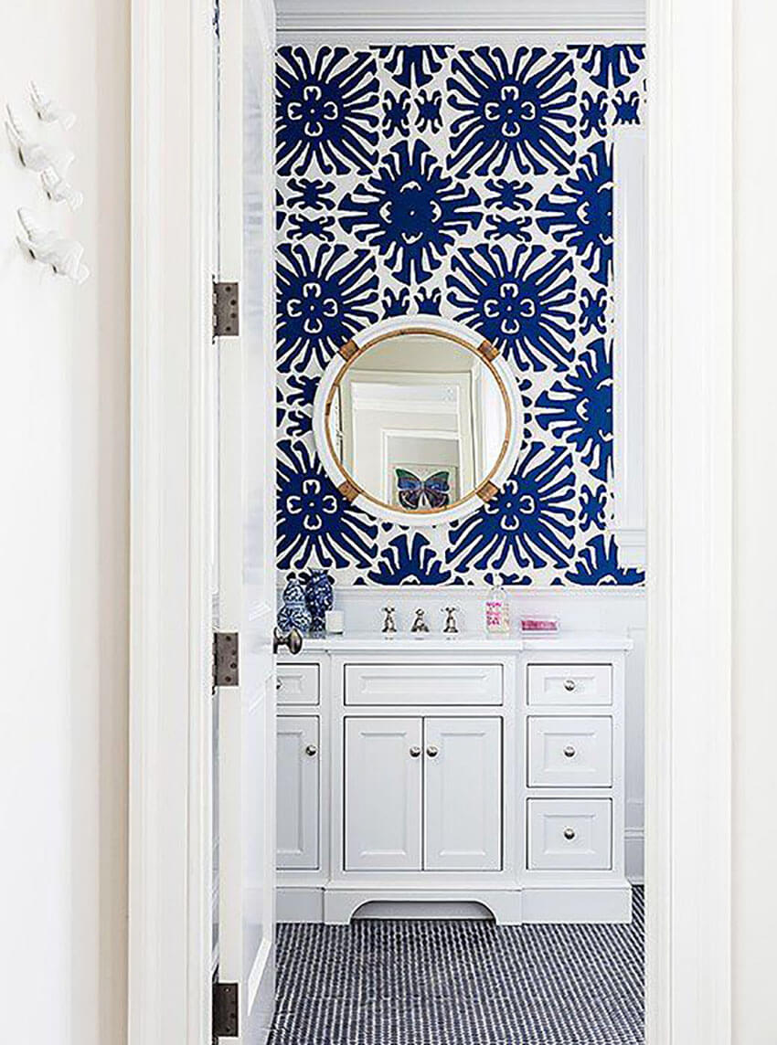 Make your bathroom pop with beautiful wallpaper.