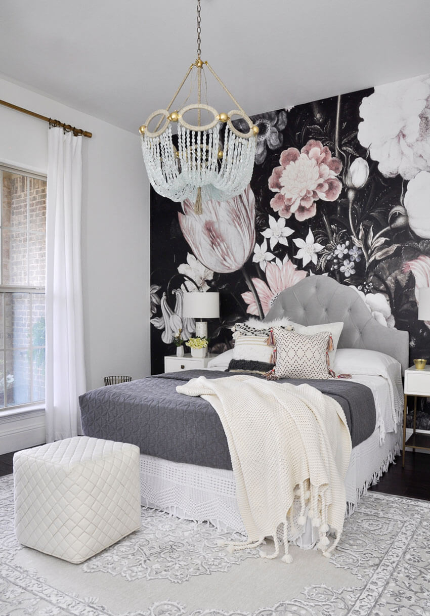 Big murals add style and personality to the room.