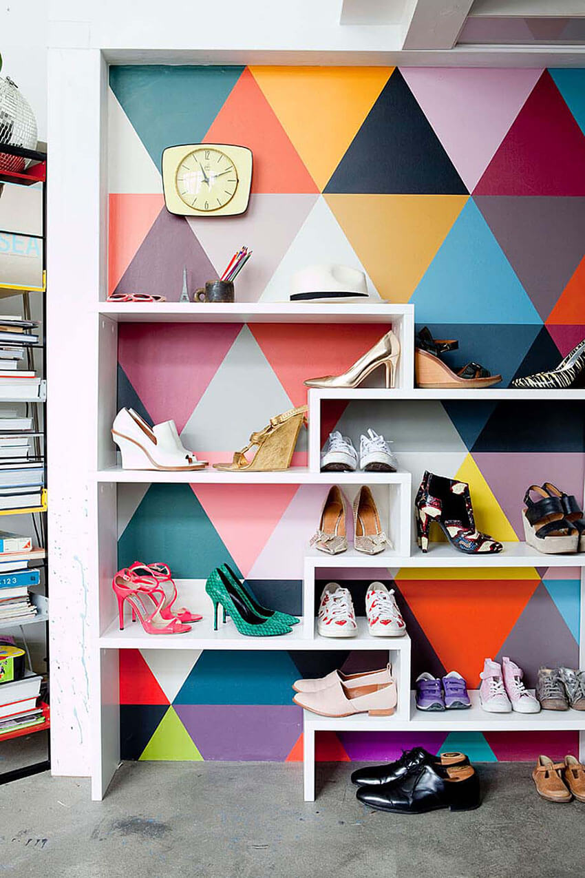 A colorful geometric wallpaper is great for any room.