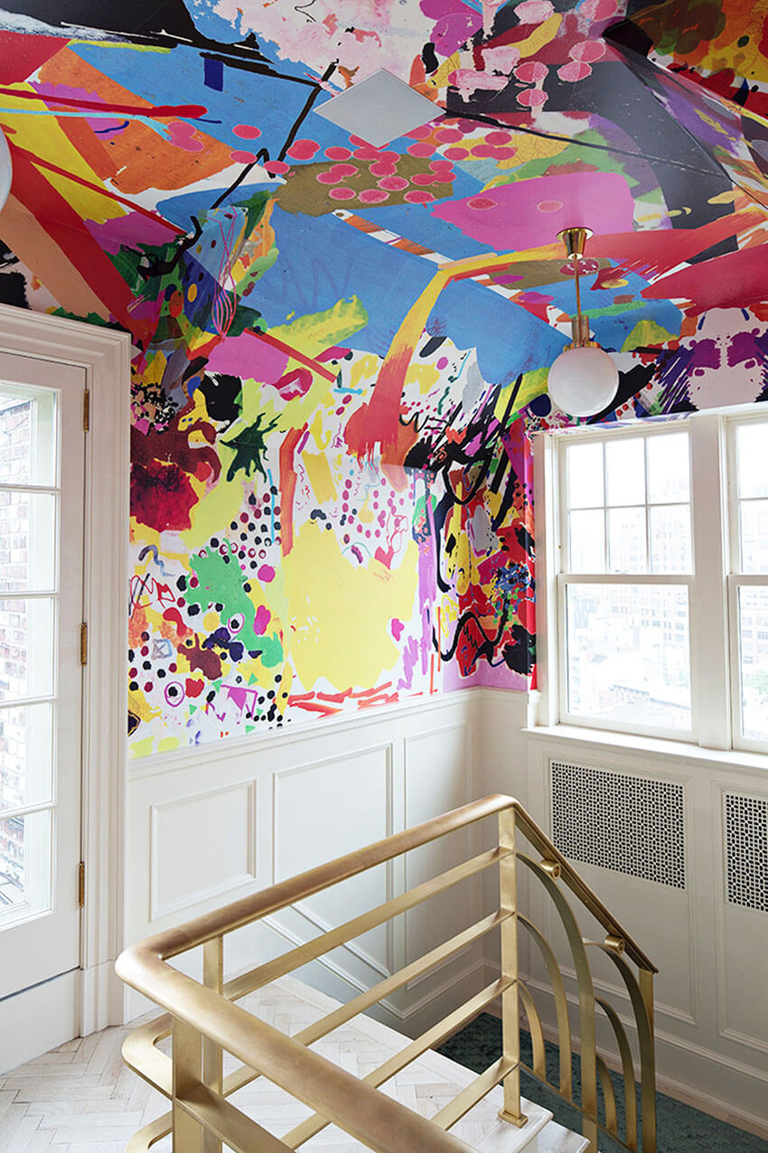 Any wall, ceiling and corner can benefit from a colorful wallpaper.