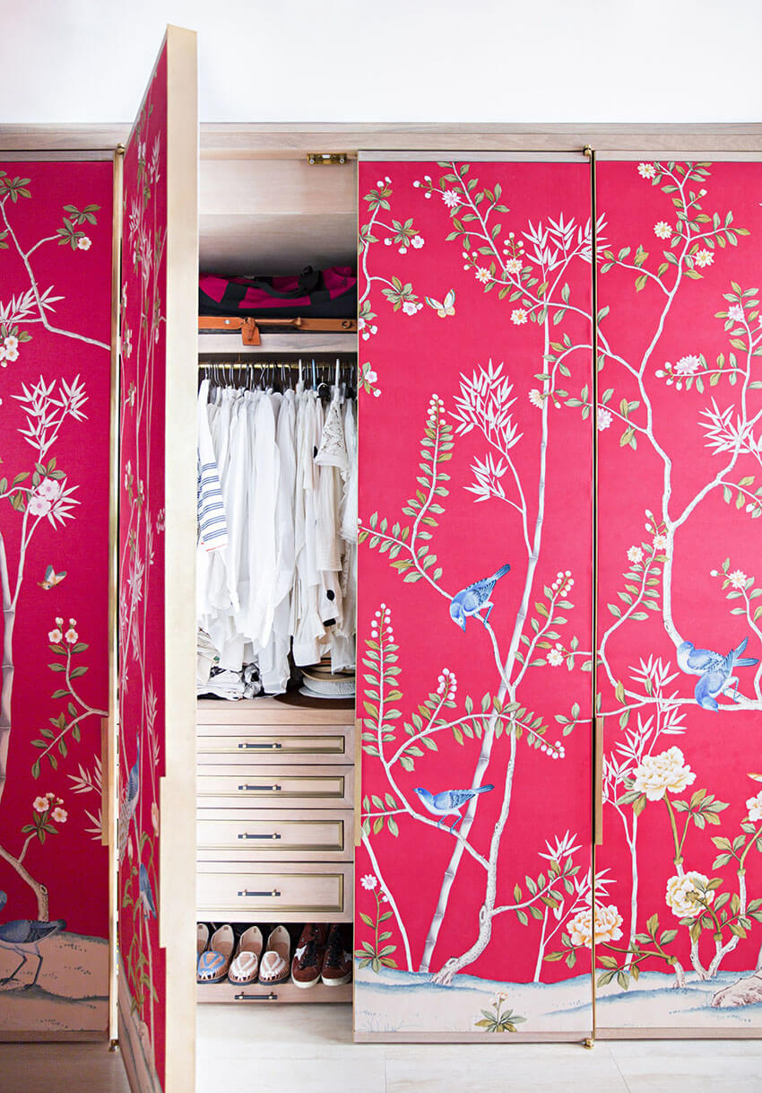Your closet can also benefit with a wallpaper!