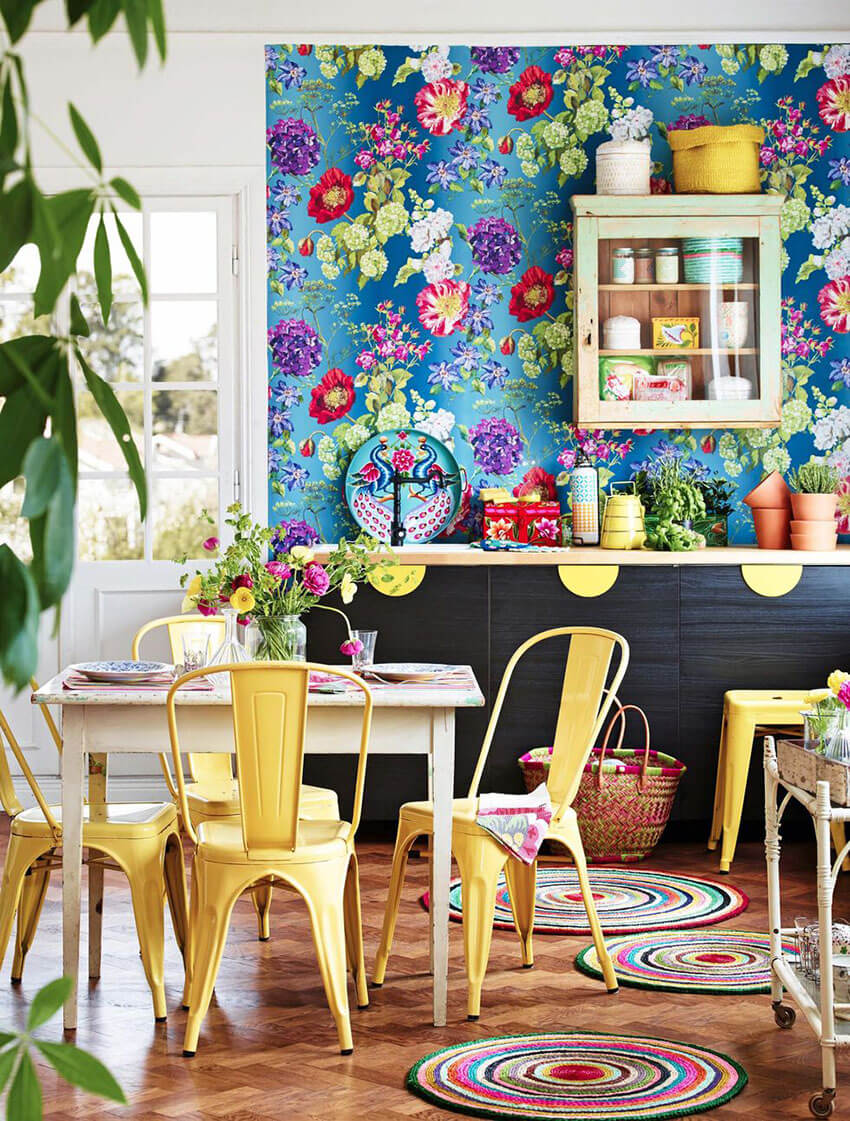 Add colorful furniture to complement the wallpaper.