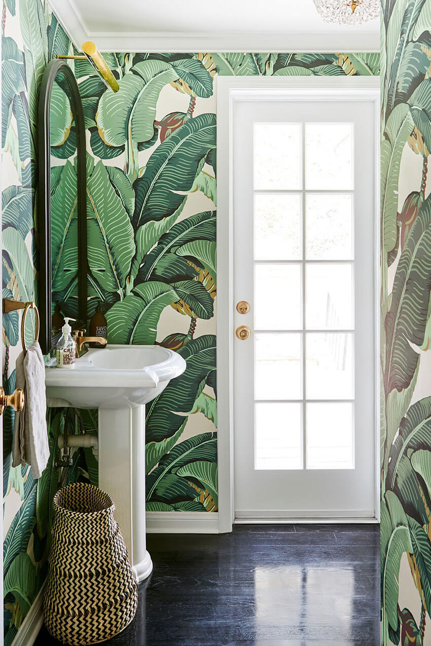 This room looks sensational with the nature-inspired wallpaper.