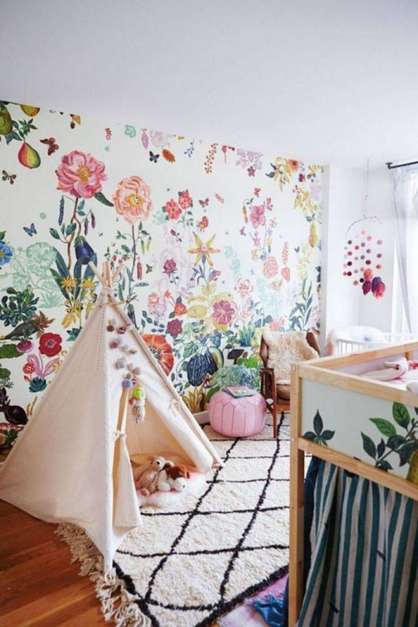 Add a gorgeous and colorful floral to the nursery or to the playroom