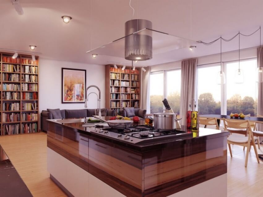 A massive single kitchen island for your dining room experience
