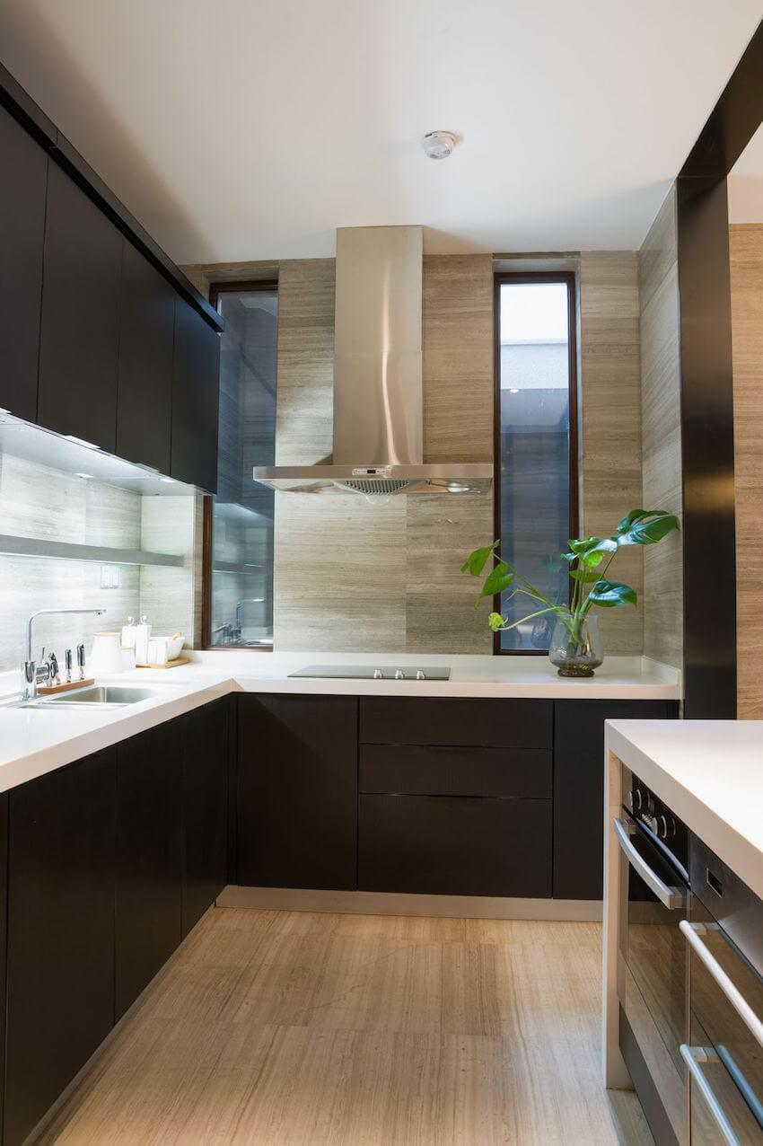 Modern sleek take on a kitchen with practical spacing