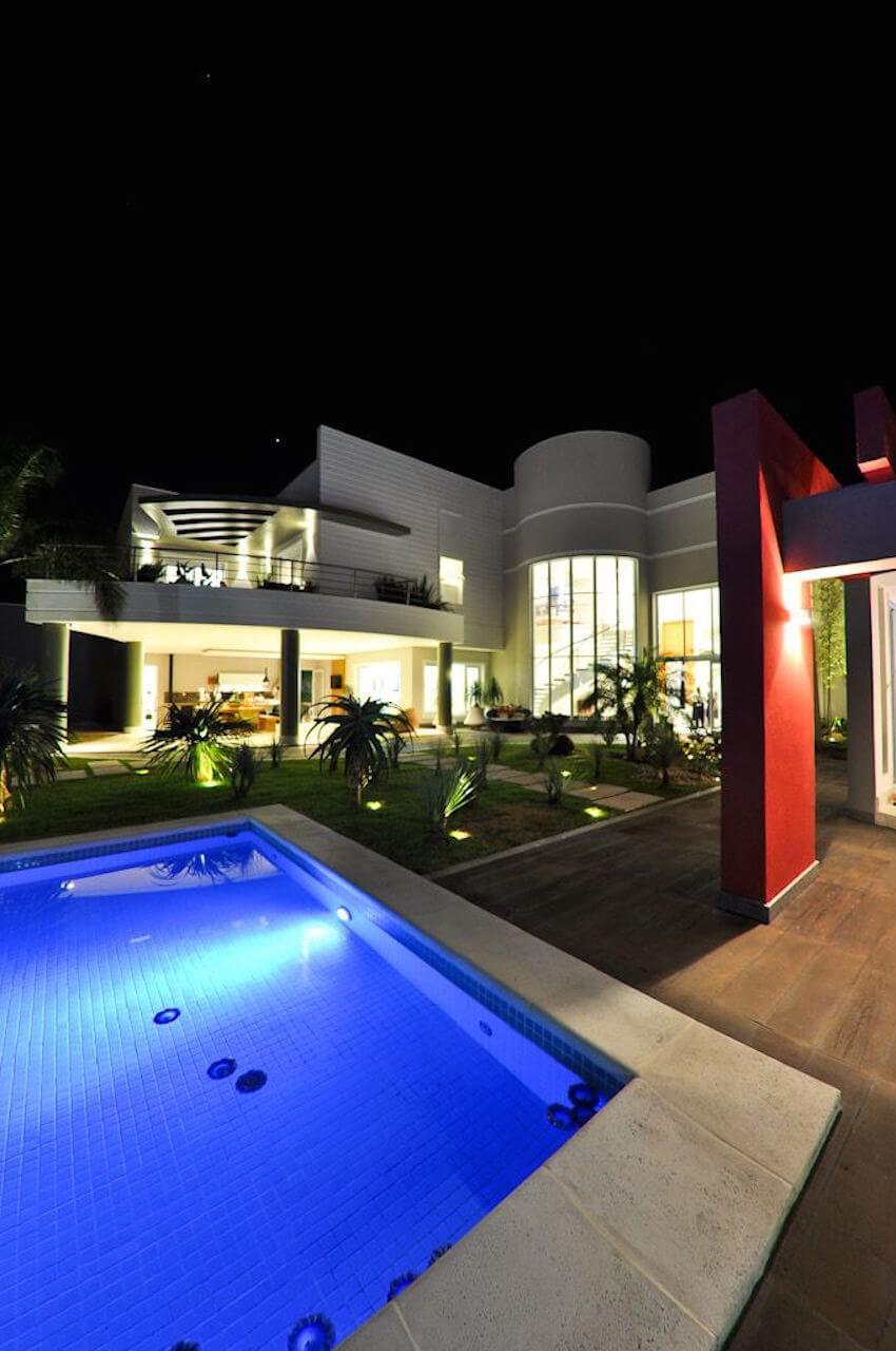 Vegas style light up swimming pool at night