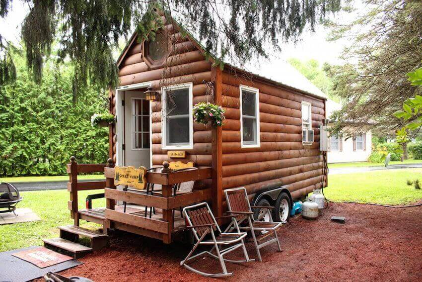 Tiny rustic log cabin for a home away from home