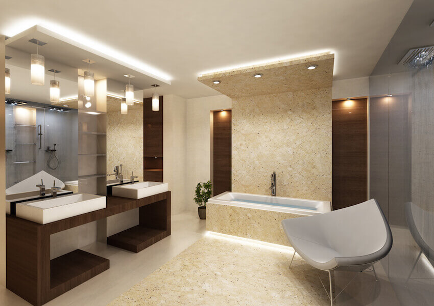 Modern sleek bathroom remodeling