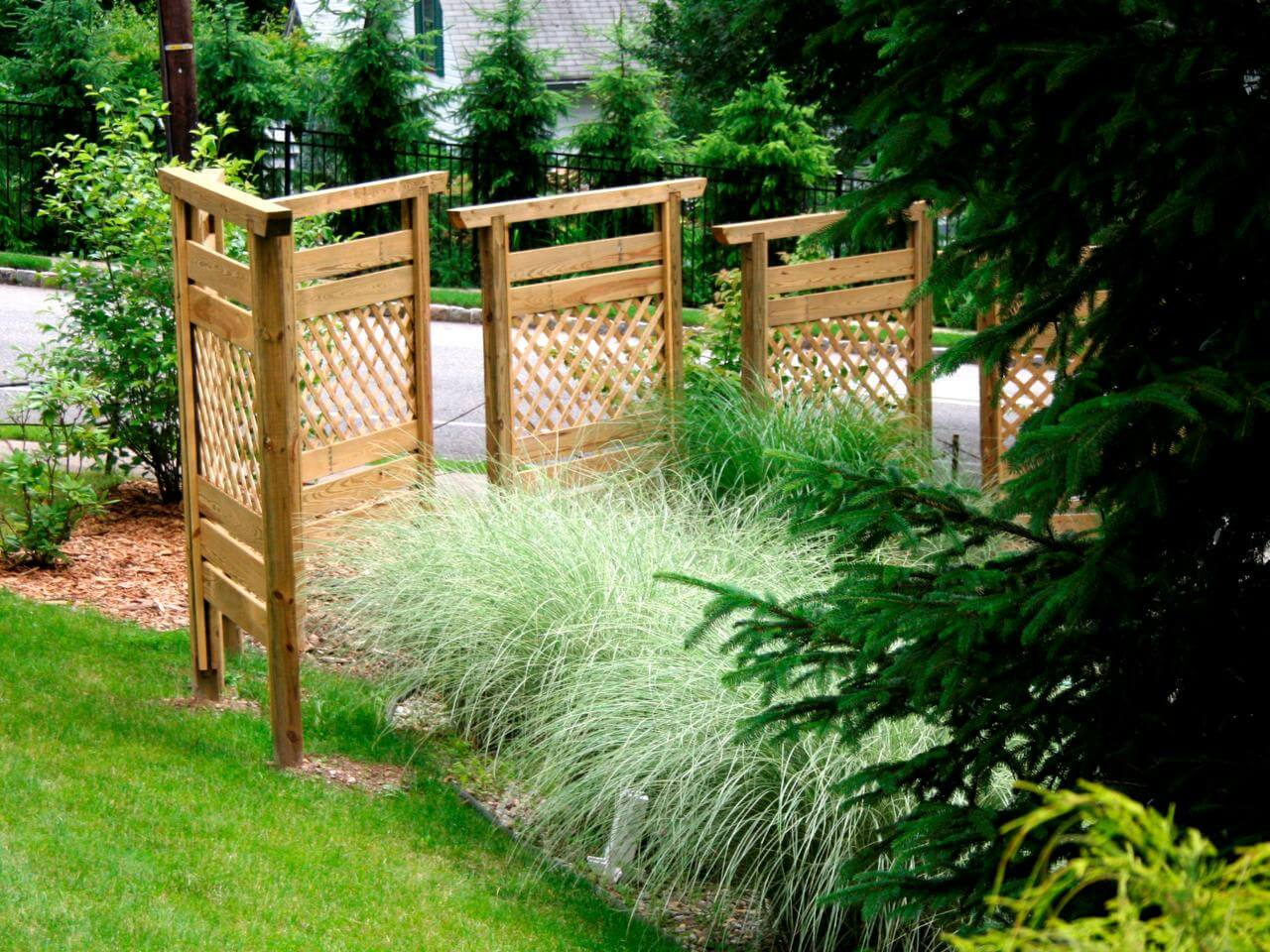 A trio of wooden fences