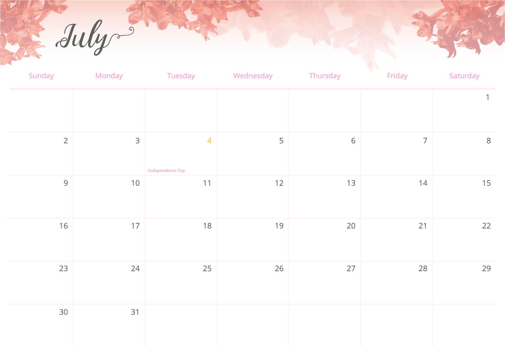 With a beautiful floral design, the calendar fits any decoration style.