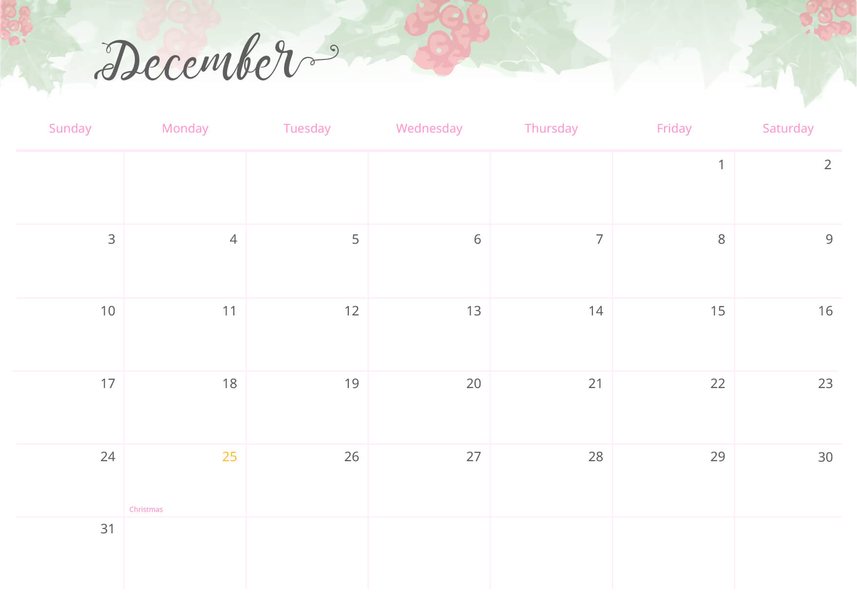 End the year by taking a look at all the monthly calendars of the year and take a few minutes to remember all the amazing events you enjoyed!