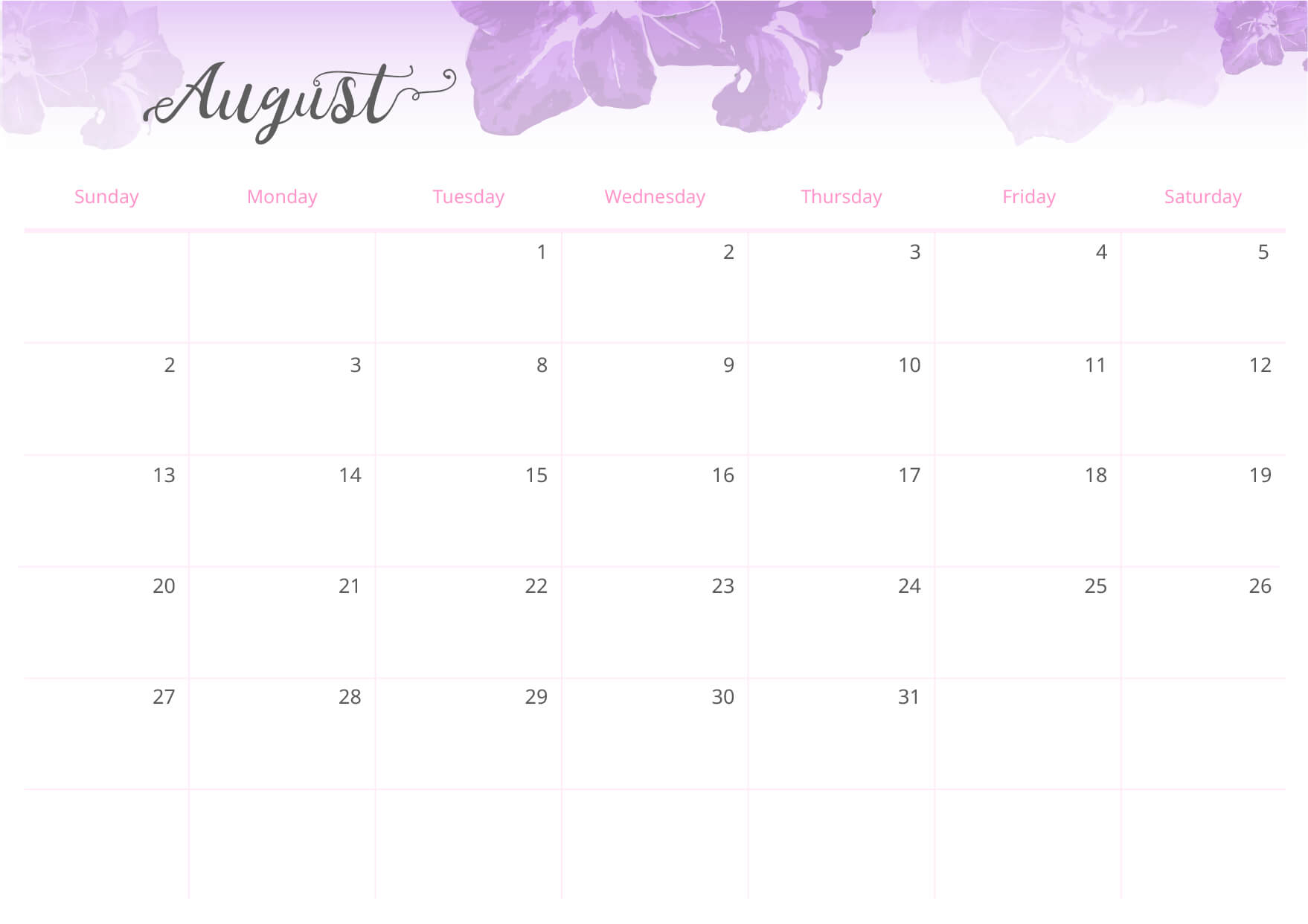 Hang the calendar near the front door or beside your bed so it is always visible.