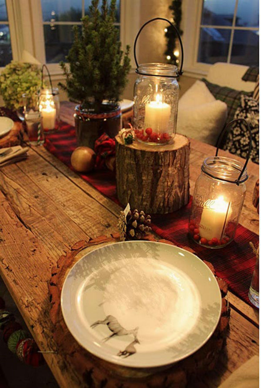Mason Jars as candle holders are great for rustic decoration. Image Source: Nano Buffet