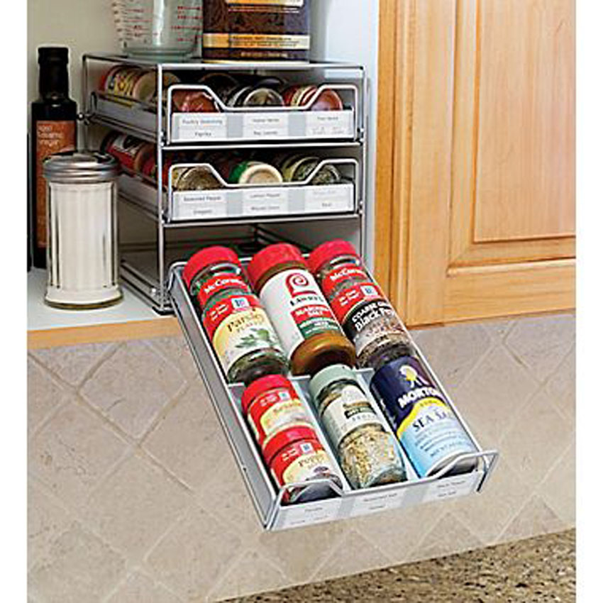 This spice storage system fits normal size spice bottles.