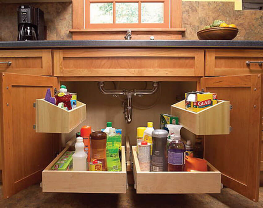 This under-the-sink storage system will get your kitchen organized in no time!