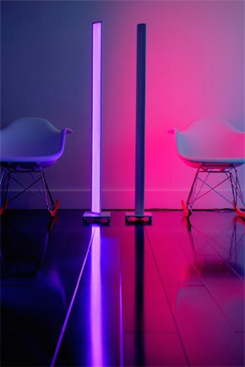 Colorful LED lamp light that serves as a pole