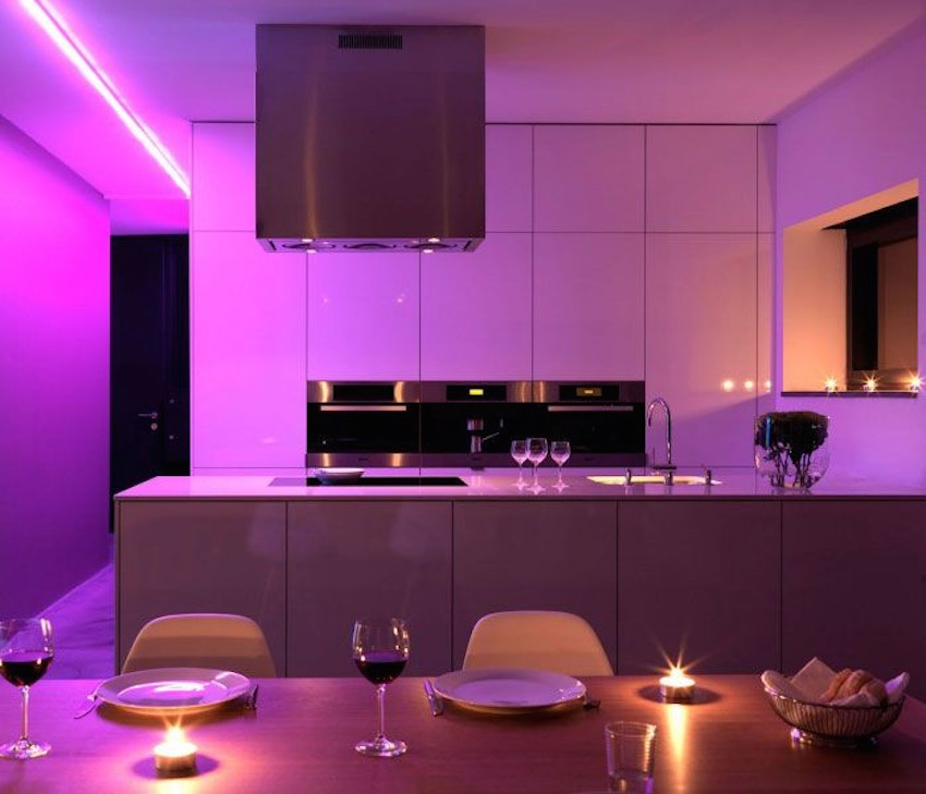 Purple retro interior lighting for an 80's theme
