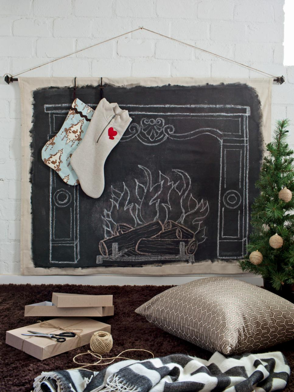 Put a foux fireplace in the living room for Santa to visit