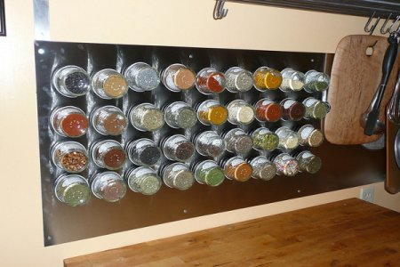 A DIY homemade kitchen spice rack