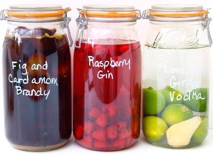 Infused liquors perfect for any kitchen or dining room bar