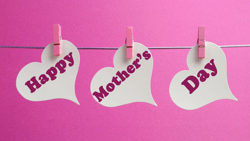 DIY pink and white cutout hearts for mom