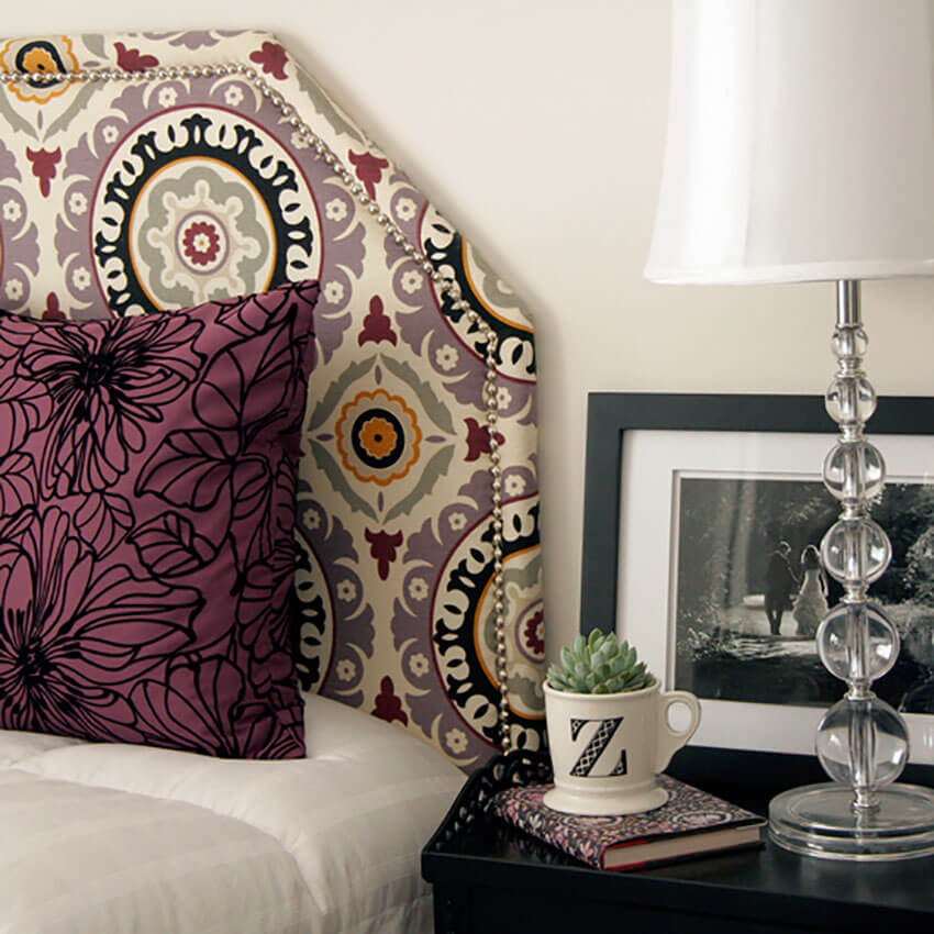 You can choose whatever fabric you want when making this upholstered headboard.