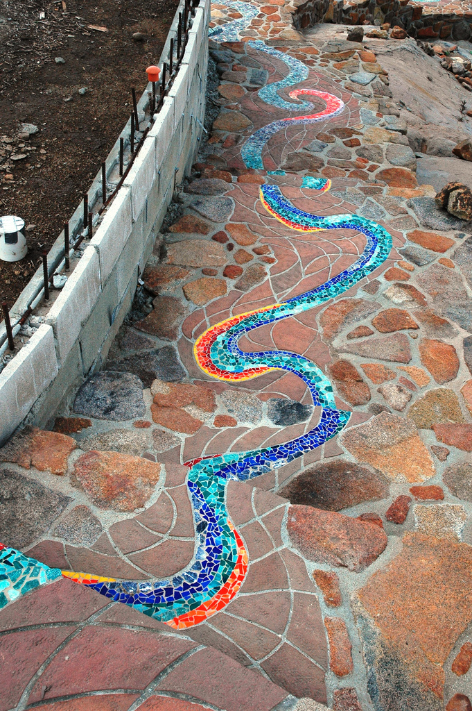 mosaic river whimsical garden