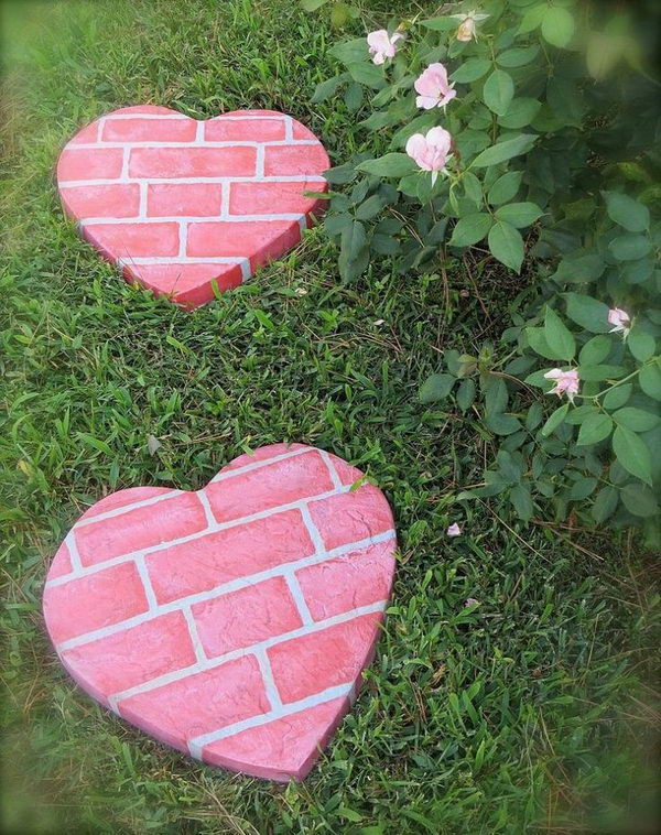 heart shaped stepping stones in whimsical garden