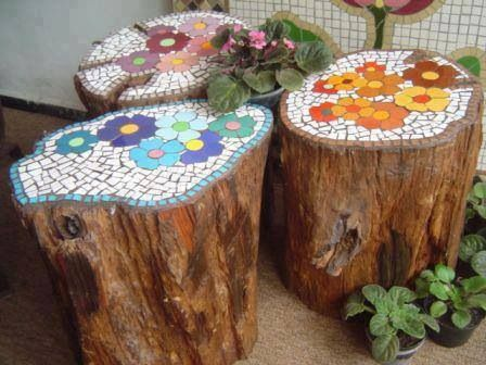 mosaic tree stump seats for whimsical garden