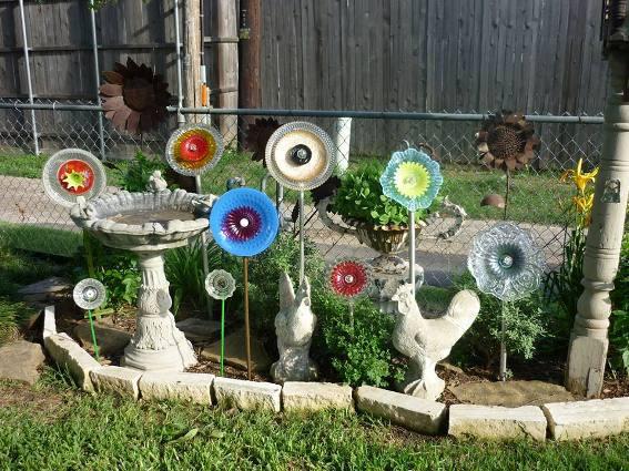 mini glass flowers for whimsical garden