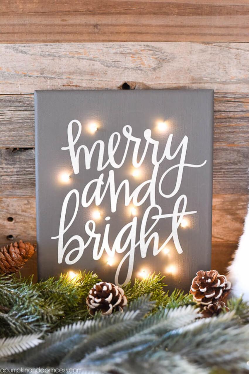 Christmas lights on the sign, too!