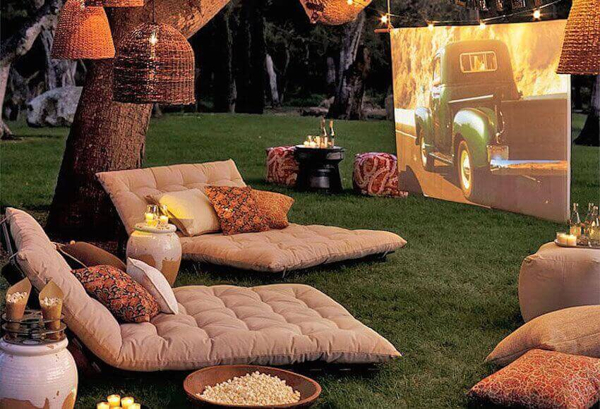 The seating is one of the most important parts of making your DIY outdoor movie theater. Make sure they're comfortable and plentiful.